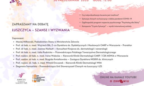 Debata z okazji Światowego Dnia Chorego na Łuszczycę – 30.10.2020